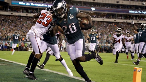 <p>               Philadelphia Eagles' Jay Ajayi scores a touchdown during the second half against the Atlanta Falcons in an NFL football game early Friday, Sept. 7, 2018, in Philadelphia. (AP Photo/Matt Rourke)             </p>