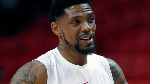 <p>               FILE - In this March 1, 2018, file photo, Miami Heat forward Udonis Haslem chats before the start of an NBA basketball game against the Los Angeles Lakers, in Miami. Udonis Haslem is barely given the chance to play anymore, and the Miami Heat wanted him back anyway. That's how much they value his presence. A person with knowledge of the negotiations said Haslem and the Heat have agreed on a one-year, $2.4 million contract that will keep him with his hometown team for a 16th season. The person spoke to The Associated Press Thursday on condition of anonymity because the contract has not been signed, though that last detail is now merely a formality. (AP Photo/Wilfredo Lee, File)             </p>
