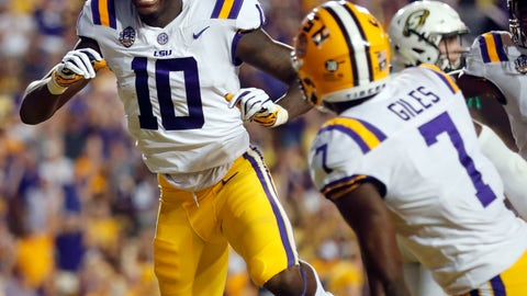 <p>               LSU wide receiver Stephen Sullivan (10) celebrates his touchdown reception to end the first half of an NCAA college football game against Southeastern Louisiana in Baton Rouge, La., Saturday, Sept. 8, 2018. (AP Photo/Gerald Herbert)             </p>