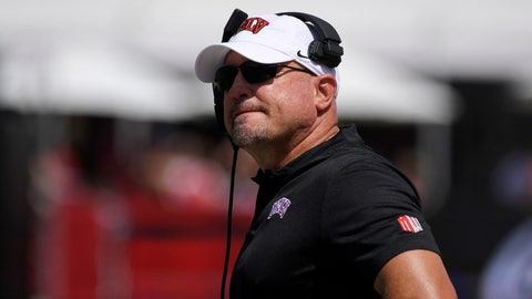 <p>               FILE - In this Sept. 1, 2018, file photo, UNLV head coach Tony Sanchez watches the first half of an NCAA college football game against Southern California in Los Angeles. Sanchez is in his fourth season in charge of an uptick Rebels program that has improved by one victory in each of his first three seasons. (AP Photo/Mark J. Terrill, File)             </p>