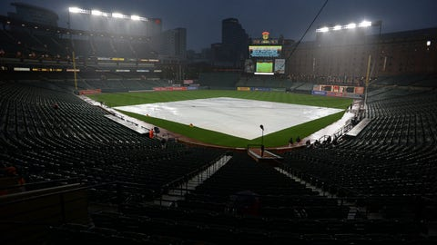 <p>               A tarp covers the field before a scheduled baseball game between the Baltimore Orioles and the Houston Astros on Thursday, Sept. 27, 2018, in Baltimore. The game was postponed. (AP Photo/Gail Burton)             </p>