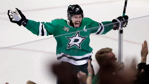 <p>               FILE - In this March 3, 2018, file photo, Dallas Stars' Tyler Seguin (91) celebrates their 3-2 overtime win in an NHL hockey game against the St. Louis Blues in Dallas. Seguin has signed a $78.8 million, eight-year contract extension with the Stars, general manager Jim Nill announced  Thursday, Sept. 13, 2018. (AP Photo/Tony Gutierrez, File)             </p>