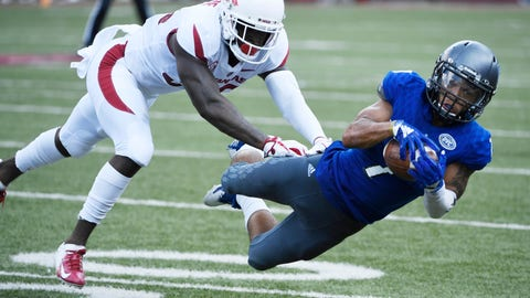 <p>               Arkansas defender D'Vone McClure puts the pressure on Eastern Illinois receiver Aaron Gooch as he makes a catch in the first half of an NCAA college football game Saturday, Sept. 1, 2018, in Fayetteville, Ark. (AP Photo/Michael Woods)             </p>