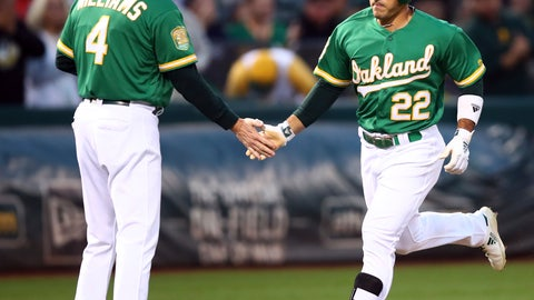 <p>               Oakland Athletics' Ramon Laureano, right, is congratulated by third base coach Matt Williams after hitting a home run off Texas Rangers pitcher Yovani Gallardo in the first inning of a baseball game Friday, Sept. 7, 2018, in Oakland, Calif. (AP Photo/Ben Margot)             </p>