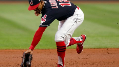 <p>               Cleveland Indians' Francisco Lindor fields a ball hit by Chicago White Sox's Omar Narvaez during the first inning of a baseball game, Thursday, Sept. 20, 2018, in Cleveland. Narvaez was out at first. (AP Photo/Tom E. Puskar)             </p>