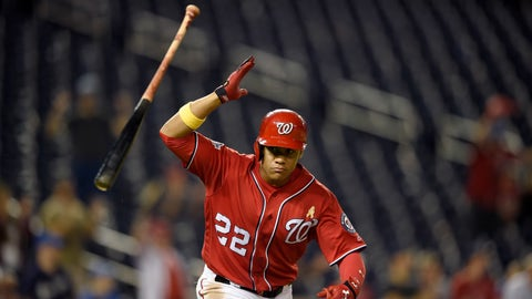 <p>               Washington Nationals' Juan Soto flips his bat after he hit a two-RBI single during the eighth inning of a baseball game against the Milwaukee Brewers, early Sunday, Sept. 2, 2018, in Washington. The Nationals won 5-4. (AP Photo/Nick Wass)             </p>