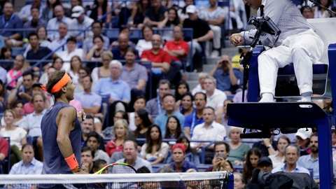 <p>               Rafael Nadal, of Spain, talks with chair umpire James Keothavong during a match against Juan Martin del Potro, of Argentina, during the semifinals of the U.S. Open tennis tournament, Friday, Sept. 7, 2018, in New York. (AP Photo/Seth Wenig)             </p>