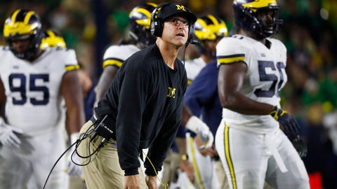<p>               Michigan head coach Jim Harbaugh watches a replay in the first half of an NCAA football game against Notre Dame in South Bend, Ind., Saturday, Sept. 1, 2018. (AP Photo/Paul Sancya)             </p>