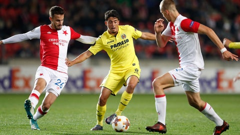 <p>               FILE - In this Thursday, Nov. 2, 2017 file photo, Villarreal's Pablo Fornals, center, is challenged by Slavia Praha's Tomas Soucek, right, and Jakub Hromada during the Europa League group A soccer match between Villarreal and Slavia Prague at the Eden stadium in Prague, Czech Republic. Spanish football has found its next great midfielder in the making. Pablo Fornals scored one of the goals of the season in the Spanish league on Wednesday Sept. 26, 2018, when he used one touch of his right boot to score from about 45 meters (50yards) and put Vilarreal on its way to a 3-0 victory at Athletic Bilbao. (AP Photo/Petr David Josek, File)             </p>
