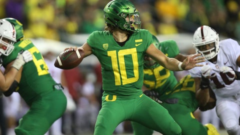 <p>               Oregon's Justin Herbert drops back to pass against Stanford during the third quarter an NCAA college football game Saturday, Sept. 22, 2018, in Eugene, Ore. (AP Photo/Chris Pietsch)             </p>