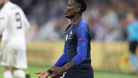 <p>               France's Paul Pogba reacts during the UEFA Nations League soccer match between Germany and France in Munich, Germany, Thursday, Sept. 6, 2018. (AP Photo/Michael Probst)             </p>