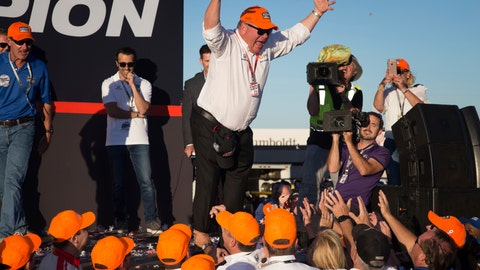 <p>               Team owner Chip Ganassi prepares to do a stage dive into the arms of his team after his driver Scott Dixon won the IndyCar championship, Sunday, Sept. 16, 2018, in Sonoma, Calif. (AP Photo/Elijah Nouvelage)             </p>