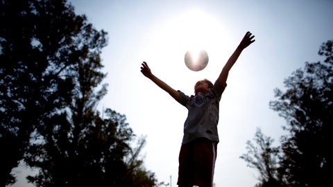 """<p>               In this Sept. 8, 2018 photo, Candelaria Cabrera plays with a soccer ball in Chabaz, Argentina. """"Cande,"""" as she is known by friends and family, is the only girl playing in a children's soccer league in the southern part of Argentina's Santa Fe province, birthplace of stars including Lionel Messi, Gabriel Batistuta and Jorge Valdano. (AP Photo/Natacha Pisarenko)             </p>"""