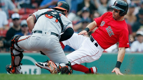 <p>               Boston Red Sox's Ian Kinsler beats the tag from Baltimore Orioles' Austin Wynns (61) as he scores on a three-run double by Rafael Devers during the first inning of the first game of a baseball doubleheader in Boston, Wednesday, Sept. 26, 2018. (AP Photo/Michael Dwyer)             </p>