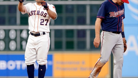 <p>               Houston Astros' Jose Altuve (27) reacts next to Minnesota Twins second baseman Logan Forsythe at second base after Altuve hit an RBI double, scoring George Springer, during the sixth inning of a baseball game Wednesday Sept. 5, 2018, in Houston. (AP Photo/Michael Wyke)             </p>