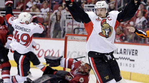 <p>               FILE - In this March 9, 2017, file photo, Ottawa Senators defenseman Erik Karlsson (65) celebrates after scoring a goal against the Arizona Coyotes during the third period during an NHL hockey game in Glendale, Ariz. The San Jose Sharks have acquired two-time Norris Trophy-winning defenseman Erik Karlsson from the Senators, the teams announced Thursday, Sept. 13, 2018. ( AP Photo/Rick Scuteri)             </p>