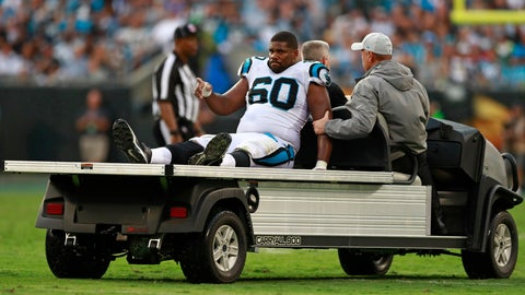 <p>               Carolina Panthers' Daryl Williams (60) is taken from the field on a cart after being injured during the second half of an NFL football game against the Dallas Cowboys in Charlotte, N.C., Sunday, Sept. 9, 2018. (AP Photo/Jason E. Miczek)             </p>