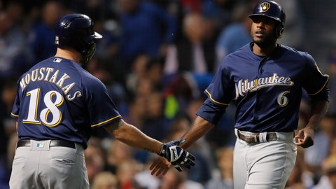 <p>               Milwaukee Brewers' Lorenzo Cain, right, celebrates scoring a run against the Chicago Cubs with teammate Mike Moustakas during the first inning of a baseball game Monday, Sept. 10, 2018, in Chicago. (AP Photo/Jim Young)             </p>