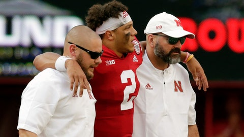 <p>               FILE - In this Sept. 8, 2018, file photo, Nebraska trainers help injured quarterback Adrian Martinez (2) off the field during the second half of an NCAA college football game against Colorado in Lincoln, Neb., Saturday, Sept. 8, 2018. Colorado won 33-28. Nebraska believes it can build off its loss to Colorado, but a lot will depend on quarterback Adrian Martinez's health.  (AP Photo/Nati Harnik, File)             </p>