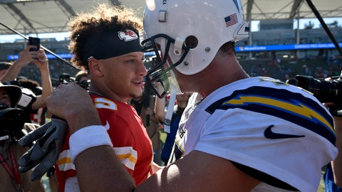 <p>               Kansas City Chiefs quarterback Patrick Mahomes, left, greets Los Angeles Chargers quarterback Philip Rivers after win during an NFL football game Sunday, Sept. 9, 2018, in Carson, Calif. (AP Photo/Kelvin Kuo)             </p>