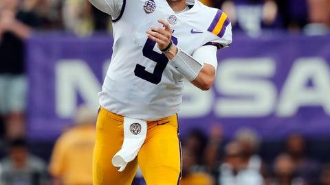 <p>               LSU quarterback Joe Burrow (9) passes in the first half of an NCAA college football game against Southeastern Louisiana in Baton Rouge, La., Saturday, Sept. 8, 2018. (AP Photo/Gerald Herbert)             </p>