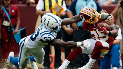 <p>               Indianapolis Colts linebacker Darius Leonard, left, tackles Washington Redskins running back Chris Thompson in the second half of an NFL football game, Sunday, Sept. 16, 2018, in Landover, Md. (AP Photo/Alex Brandon)             </p>