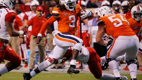 <p>               FILE - In this Saturday, Sept. 1, 2018, file photo, Virginia quarterback Bryce Perkins (3) runs for a touchdown against Richmond during the first half of an NCAA college football game,, in Charlottesville, Va.  It will be a Virginia home game played on the road when the Cavaliers and Ohio meet at Vanderbilt Stadium on Saturday, in a game that was moved earlier in the week with Hurricane Florence bearing down on the Mid-Atlantic Region. (Joe Mahoney/Richmond Times-Dispatch via AP, File)             </p>