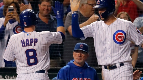 <p>               Chicago Cubs' Ian Happ, left, celebrates his three-run home run against the Cincinnati Reds with teammate Kris Bryant, right, as manager Joe Maddon looks on during the seventh inning of a baseball game Friday, Sept. 14, 2018, in Chicago. (AP Photo/Jim Young)             </p>