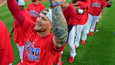 <p>               Cleveland Indians' Brandon Barnes celebrates after the Indians defeated the Detroit Tigers 15-0 to clinch the American League Central Division, in a baseball game, Saturday, Sept. 15, 2018, in Cleveland. (AP Photo/David Dermer)             </p>
