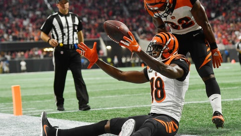 <p>               Cincinnati Bengals wide receiver A.J. Green (18) celebrates his game-winning catch against the Atlanta Falcons during the second half of an NFL football game, Sunday, Sept. 30, 2018, in Atlanta. The Cincinnati Bengals won 37-36. (AP Photo/John Amis)             </p>