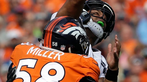 <p>               FILE - In this Sept. 9, 2018, file photo, Seattle Seahawks quarterback Russell Wilson, top, loses the ball as he is hit by Denver Broncos linebacker Von Miller (58) during the first half of an NFL football game, in Denver. Von Miller might be the only one at Broncos headquarters lamenting Khalil Mack's startling trade from the Oakland Raiders to the Chicago Bears.  (AP Photo/Jack Dempsey, File)             </p>