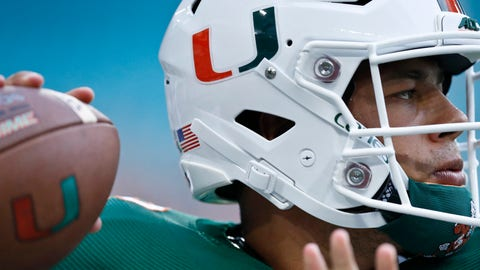 <p>               Miami quarterback Malik Rosier warms up for the team's NCAA college football game against Savannah State, Saturday, Sept. 8, 2018, in Miami Gardens, Fla. (AP Photo/Brynn Anderson)             </p>