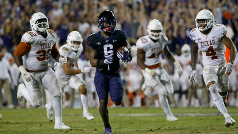 <p>               FILE - In this Nov. 4, 2017, file photo, TCU running back Darius Anderson (6) runs for a touchdown as Texas defenders Malcolm Roach (32) and DeShon Elliott (4) pursue during the second half of an NCAA college football game in Fort Worth, Texas. TCU won 24-7.  The teams play again this week. The Longhorns are coming off a big win at home over No. 22 Southern Cal, and will be looking to take down another ranked team in Austin. TCU is trying to do something it has never done in the series that dates back to 1897. The Horned Frogs are going for their fifth win in a row against Texas. (AP Photo/Ron Jenkins, File)             </p>