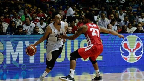 <p>               U.S. player Derrick White dribbles past Panama's Daniel Giron during the third quarter of a FIBA Basketball World Cup 2019 qualifier game in Panama City, Monday, Sept. 17, 2018. (AP Photo/Arnulfo Franco)             </p>