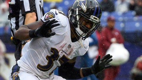 <p>               Rain drips off of Baltimore Ravens running back Javorius Allen's (37) helmet as he celebrates his touchdown during the second half of an NFL football game against the Buffalo Bills, Sunday, Sept. 9, 2018, in Baltimore. (AP Photo/Gail Burton)             </p>