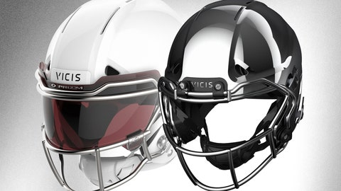<p>               This image provided by VICIS show the VICIS Varsity helmet for the pros, left, and the Youth helmet that will be available in 2019, right. As the NFL seeks remedies for injuries caused by helmets by spending millions of dollars and hour upon hour on research into safer equipment, the same search goes on at other levels of football. (VICIS via AP)             </p>