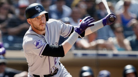 <p>               Colorado Rockies' Trevor Story hits an RBI-double during the sixth inning of a baseball game against the San Diego Padres in San Diego, Sunday, Sept. 2, 2018. (AP Photo/Alex Gallardo)             </p>