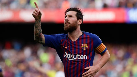 <p>               Barcelona's Lionel Messi celebrates scoring the opening goal during a Spanish La Liga soccer match between Barcelona and Huesca at the Camp Nou stadium in Barcelona, Spain, Sunday Sept. 2, 2018. (AP Photo/Eric Alonso)             </p>