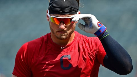 <p>               Cleveland Indians' Josh Donaldson exits the batting cage during batting practice before a baseball game against the Tampa Bay Rays, Sunday, Sept. 2, 2018, in Cleveland. (AP Photo/David Dermer)             </p>