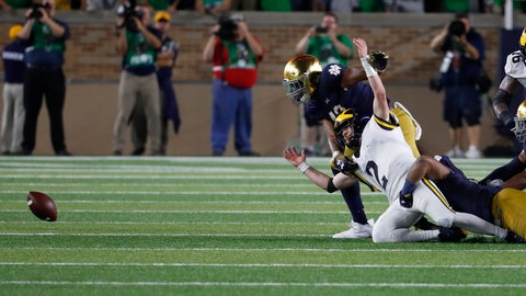 <p>               Michigan quarterback Shea Patterson (2) fumbles the ball against Notre Dame in the second half of an NCAA football game in South Bend, Ind., Saturday, Sept. 1, 2018. Notre Dame won 24-17. (AP Photo/Paul Sancya)             </p>