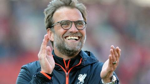 <p>               FILE - In this Saturday, April 8, 2017 file photo, Liverpool manager Juergen Klopp applauds fans after Liverpool beat Stoke 2-1 in the English Premier League soccer match between Stoke City and Chelsea at the Britannia Stadium, Stoke on Trent, England. Liverpool manager Juergen Klopp has made an intriguing signing in his technical staff which has only been made public in recent days: Thomas Gronnemark, the first throw-in coach in English soccer. (AP Photo/Rui Vieira, File)             </p>