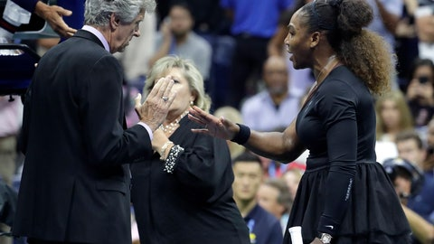 <p>               Serena Williams talks with referee Brian Earley during the women's final of the U.S. Open tennis tournament against Naomi Osaka, of Japan, Saturday, Sept. 8, 2018, in New York. (AP Photo/Julio Cortez)             </p>