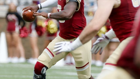 <p>               Boston College quarterback Anthony Brown (13) scrambles as he looks to pass during the first half of an NCAA college football game against Holy Cross, Saturday, Sept. 8, 2018, in Boston. (AP Photo/Mary Schwalm)             </p>