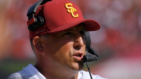 <p>               Southern California head coach Clay Helton stands on the sideline during the second half of an NCAA college football game against UNLV, Saturday, Sept. 1, 2018, in Los Angeles. (AP Photo/Mark J. Terrill)             </p>