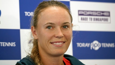<p>               Caroline Wozniacki of Denmark smiles duirng a press conference prior to the Pan Pacific Open tennis tournament in Tokyo Monday, Sept. 17, 2018. (AP Photo/Eugene Hoshiko)             </p>