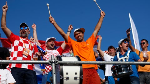 <p>               Croatian tennis fans support their team during a Davis Cup semifinal singles match between Croatia and the United States in Zadar, Croatia, Sunday, Sept. 16, 2018. Under a new format next year, the final phases of the competition will be held at a neutral site. (AP Photo/Darko Bandic)             </p>