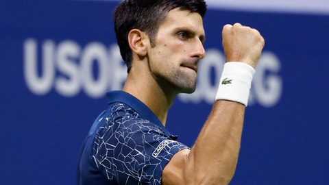 <p>               Novak Djokovic, of Serbia, reacts against Kei Nishikori, of Japan, during the semifinals of the U.S. Open tennis tournament, Friday, Sept. 7, 2018, in New York. (AP Photo/Adam Hunger)             </p>