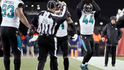<p>               FILE - In this Jan. 21, 2018, file photo, Jacksonville Jaguars linebacker Myles Jack (44) reacts after recovering a fumble during the second half of the AFC championship NFL football game against the New England Patriots, in Foxborough, Mass. Just eight months ago, the Jaguars played in their team's final game of the 2017 season, the closest the small-market franchise has ever been to the Super Bowl. (AP Photo/David J. Phillip, File)             </p>