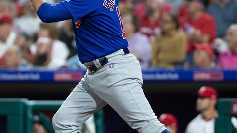 <p>               Chicago Cubs' Kyle Schwarber watches his two-run triple during the third inning of a baseball game against the Philadelphia Phillies, Saturday, Sept. 1, 2018, in Philadelphia. (AP Photo/Chris Szagola)             </p>