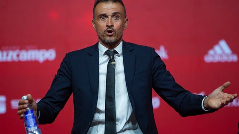"<p>               FILE - In this file photo dated Thursday, July 19, 2018, Spanish coach Luis Enrique talks to journalists during his official presentation as Spain new head coach in Las Rozas, outskirts of Madrid. According to Media reports Thursday Sept. 6, 2018, Enrique appears to be taking a hard line to try to get ""La Roja"" back on track after its recent setbacks, imposing strict new rules for the Spanish team that include a cell-phone ban during meals. (AP Photo/Francisco Seco, FILE)             </p>"